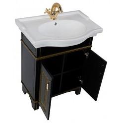 Тумба с раковиной Aquanet Валенса 70 черный краколет/золото