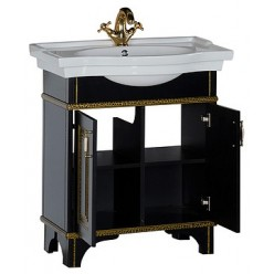 Тумба с раковиной Aquanet Валенса 80 черный краколет/золото