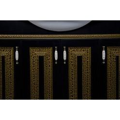 Тумба с раковиной Aquanet Валенса 110 черный краколет/золото