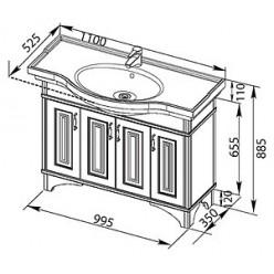 Тумба с раковиной Aquanet Валенса 110 белый краколет/серебро