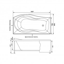 Акриловая гидромассажная ванна (форсунки Шампань) Борнео (Borneo) 170×90 правая
