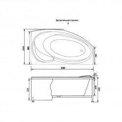 Акриловая гидромассажная ванна (форсунки Шампань) Джерси (Jersey) 170×90 правая