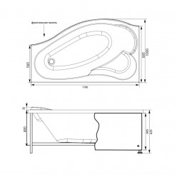 Акриловая гидромассажная ванна (форсунки Шампань) Пальма (Palma) 170×90 левая