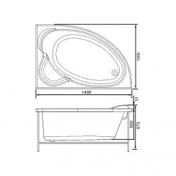 Акриловая ванна Майорка (Mayorka) 150×100 правая