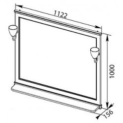 Зеркало Aquanet Валенса 110 черный краколет/серебро